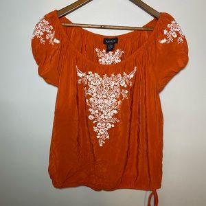 Karen Kane Burnt Orange Silk Floral Peasant Top!